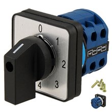 THGS 8 Terminals 5 Positions Master Control Rotary Cam Switch 20A Black Blue