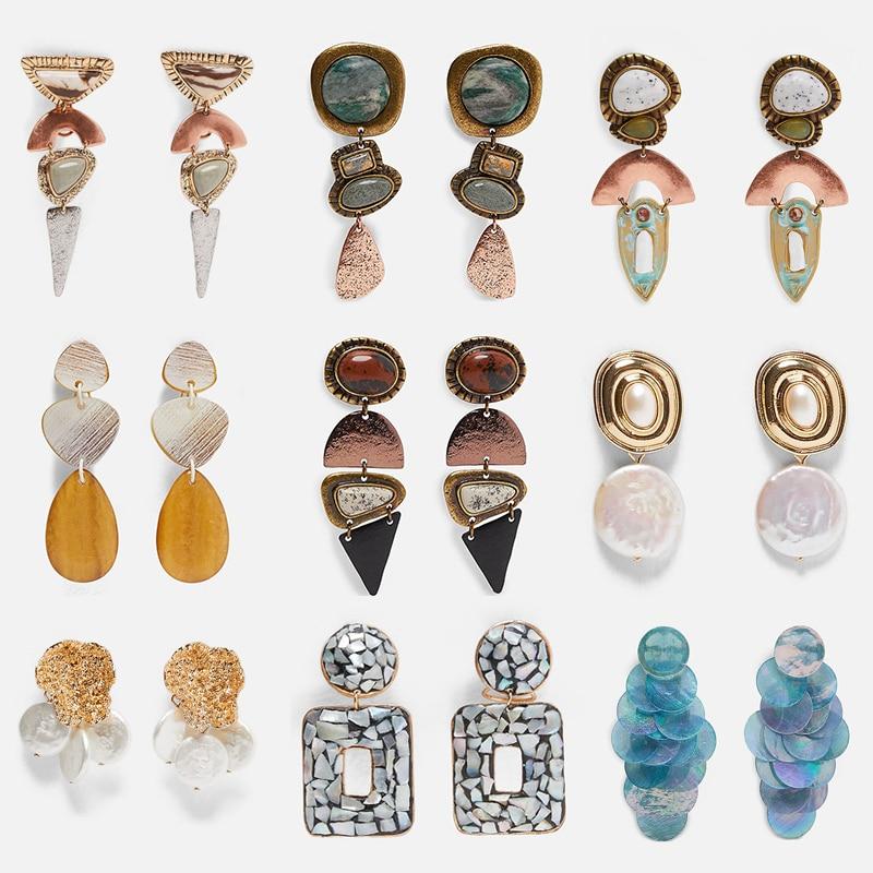 FASHIONSNOOPS Za Vintage Dangle Earrings For Women Pearl Stone Bohemian Statement Metal Drop Earring Jewelry