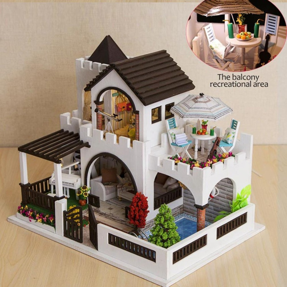 DIY 3D Wooden Big Villa Miniature Dollhouse With Furnitures Model Doll House Toys For Children Decor Birthday Gift Dream Castle wooden dollhouse diy miniature house seattle villa big doll house with car and dust cover toys for girl birthday gift christmas
