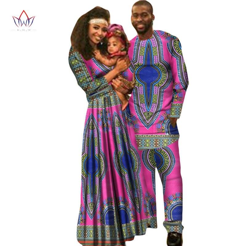 Прямые продажи BRW семья родители комплекты для малышей Африканский Дашики одежда Базен Riche Femme Vestidos женщина платье другое 5xl WYQ22