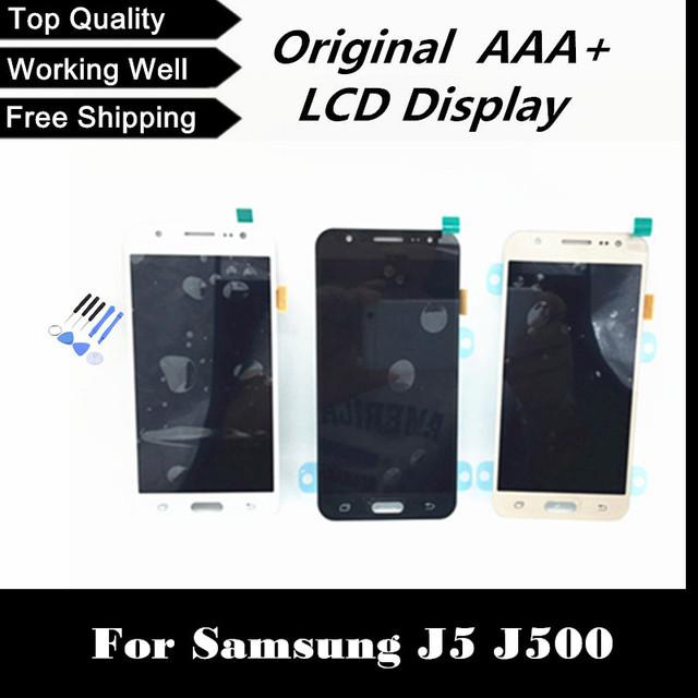 100% probado pantalla lcd con pantalla táctil digitalizador para samsung para galaxy j5 j500 j500f j500m j500y shipping + tracking no.