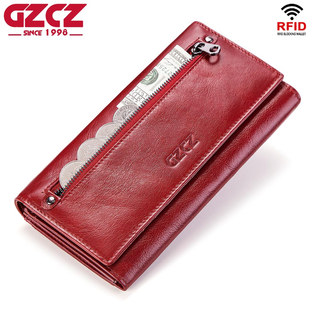 купить GZCZ Fashion Wallet Women Genuine Leather Coin Purse Portomonee Luxury Brand Kashelek Female Long Walet Womens Lady Cuzdan Rfid по цене 1358.59 рублей