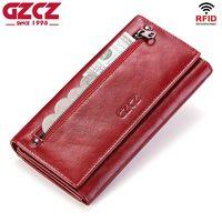 GZCZ Fashion Wallet Women Genuine Leather Coin Purse Portomonee Luxury Brand Kashelek Female Long Walet Womens Lady Cuzdan Rfid