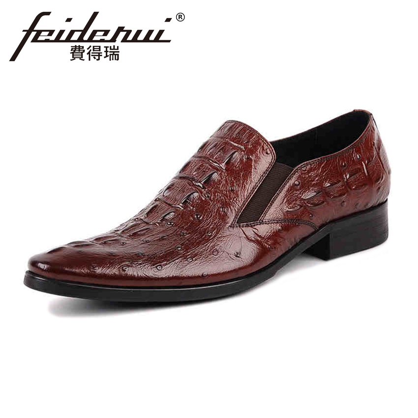 New Arrival Genuine Cow Leather Mens Loafers Alligator Pointed Toe Slip on Handmade Man Flats Comfortable Casual Shoes YMX12 new summer breathable men genuine leather casual shoes slip on fashion handmade shoes man soft comfortable flats lb b0009