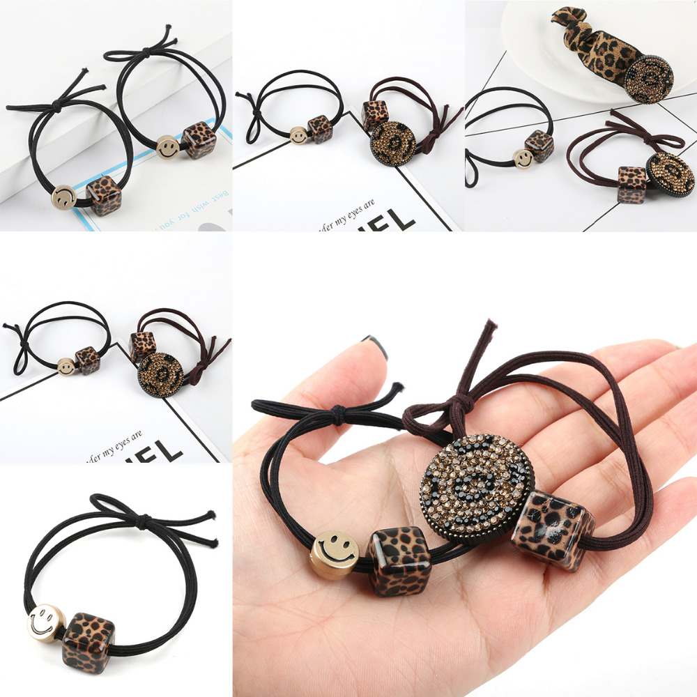 Fashion Headband Hair Band Rubber Band Tie Hair Rope Leopard Headgear Square Grain+Crystal/Smiley Square Rubber Band