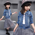 3-11Y girls clothes 2016 new girl jeans suits long sleeve turn-down collar short outwear denim jacket+patchwork skirt kids sets
