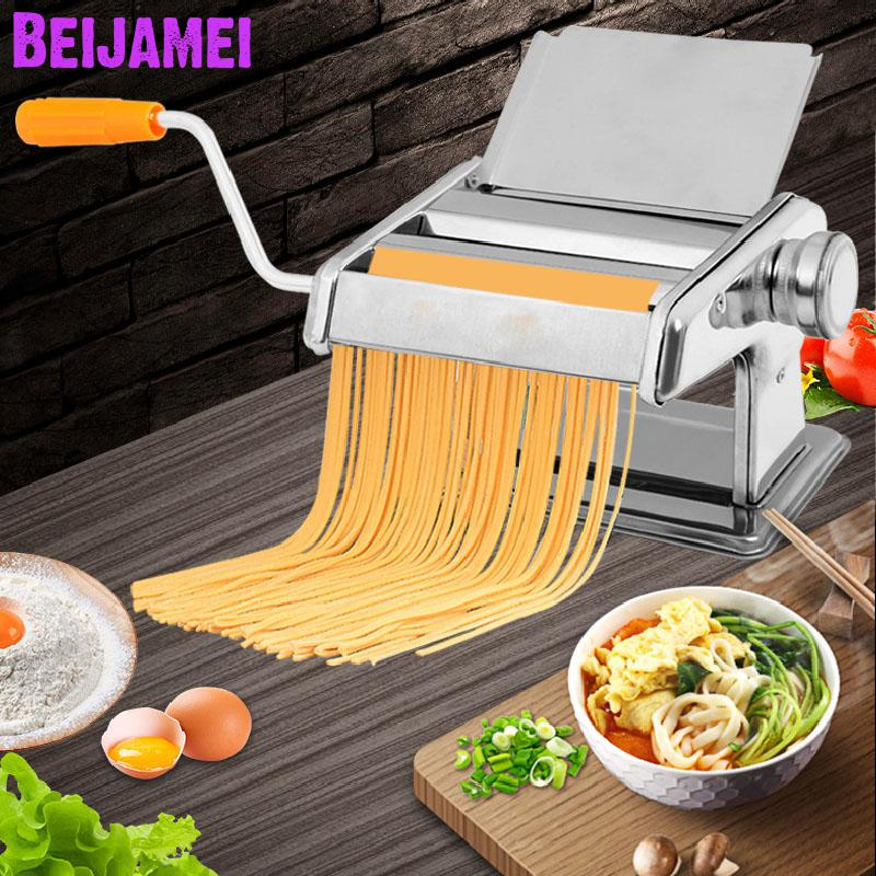 Beijamei Promotion Stainless Steel Home Handle Pasta Presser Maker Household Manual Noodle Pressing Making Machine