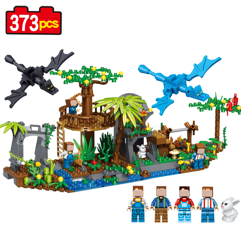 New 2017 My World Building Blocks Bricks 2 IN  1 Tree sending dragons 373pcs action figure Christmas Toys gift boy my christmas cd