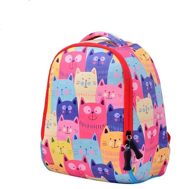 Waterproof Lovely Cat Image School Bags Monsters Kids Backpack Boys