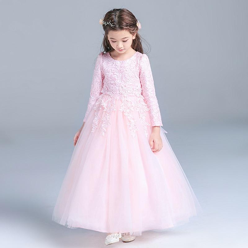 5 13 Years Elegant Long Sleeves Autumn Winter Pink Party Kids Girls Flower Dresses Teenagers 2018