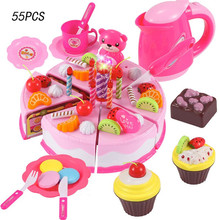Kitchen Toys Pretend Play Baby Cutting Toy Kids Cake Play Food toy 38/55/80 pcs birthday gift fun Self-assembled model thinking