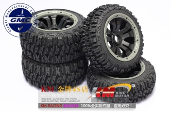 Front and Rear Off Road Excavator Tires on 5 Spoke Wheels fit HPI Baja 5B Rovan and King Motor 1/5 Vehicles