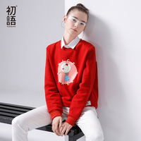 Toyouth New Arrival Women Casual Cotton Cartoon Printed Sweatshirts Autumn Thickening Pullovers Sweatshirts