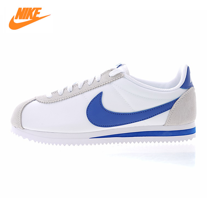 Nike Classic Cortez Men's and Women's Running Shoes, White & Blue,Wear-resistant Lightweight Shock-absorbing 807472 141 стоимость