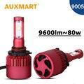 Auxmart 80 W/pair HB3 9005 Virutas de SMD LED Linterna Del Coche Auto Led cabeza de la lámpara todo en un audi faros para honda camry lexus Mazda