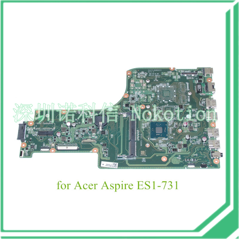 все цены на  NOKOTION DAZYLBMB6E0 REV E NBMZS11004 For acer aspire ES1-731 Motherboard N3700 CPU onboard  онлайн