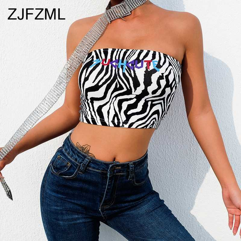 0cdf7408d68 ... Zebra Animal Print Strapless Boob Tube Top Sexy Streetwear Wrap Chest  Crop Tops Causal Letter Printed ...