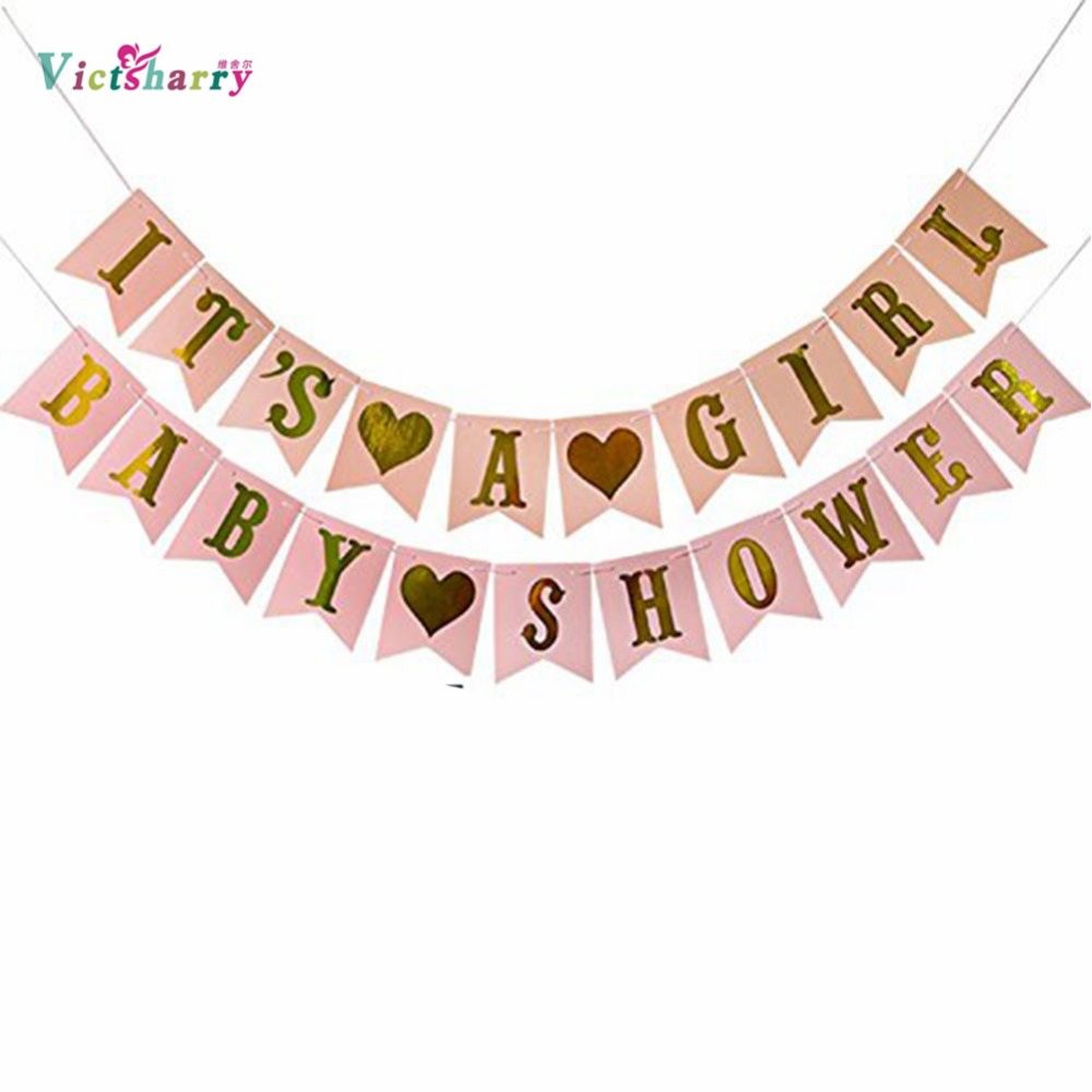 Multi Themes Its A Girl/Boy Banner Baby Shower Birthday Party Decorations Photo Booth Happy Birthday Bunting Garland Flags