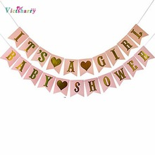 Multi Themes Its A Girl/Boy Banner Baby Shower Birthday Party Decorations Photo Booth Happy Bunting Garland Flags