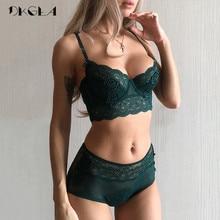 New luxury Green Lingerie Fashion Sexy Bra Embroidery Lace Women Underwear Bra Set Transparent Brassiere Black Deep V Temptation