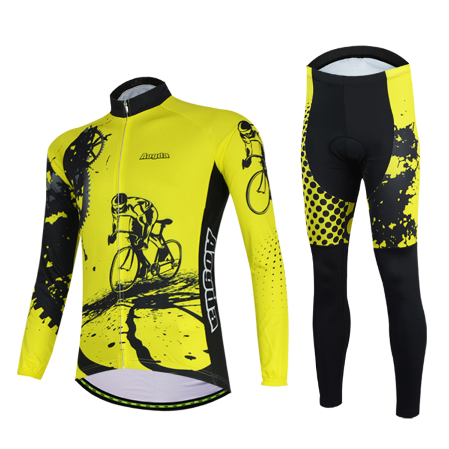 Aogda Yellow Long Sleeve bike Clothing Set Spring Autumn Cycling Clothes Men Bicycle Jersey Suit Quick