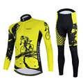 Aogda Giallo Manica Lunga bike Abbigliamento Set Primavera Autunno Ciclismo Abbigliamento Uomo Bicicletta Vestito di Jersey Quick Dry Uniforme Ciclismo