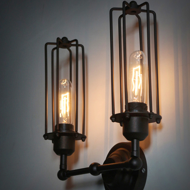 buy industrial wall lamp vintage wall light retro luminaire cage wall lights. Black Bedroom Furniture Sets. Home Design Ideas