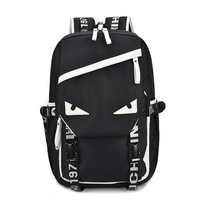 Cartoon Eyes Individuality Pattern Canvas Travel Backpack Multi functional College Wind Student Backpack Youth Trend Laptop Pack