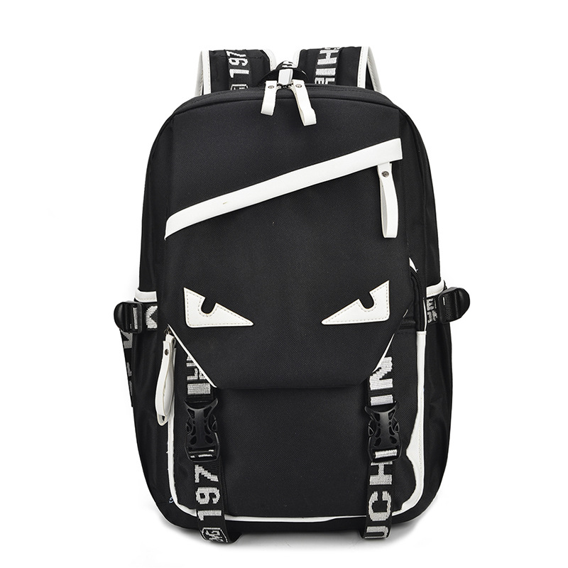 Small Monster Individuality Pattern Travel Backpack Multi-functional College Wind Student Backpack Youth Trend Computer Pack