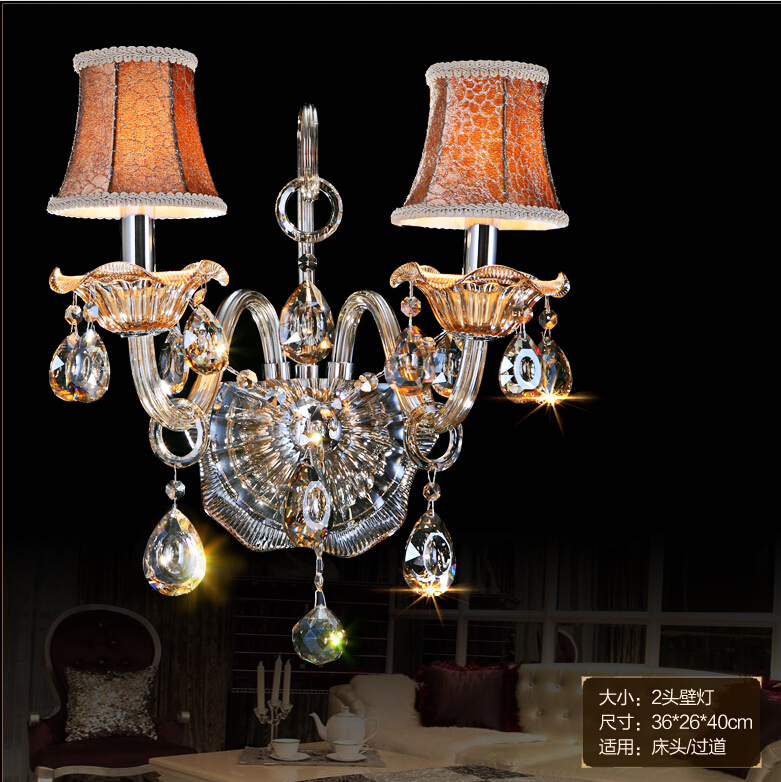 K9 Crystal wall lamp Champagne Glass wall sconces light Crystal wall bracket Lighting 1 light and 2 lights Free Shipping free shipping crystal wall lamp gold modern bed lighting fashion wall mounted lamps e14 wall sconces
