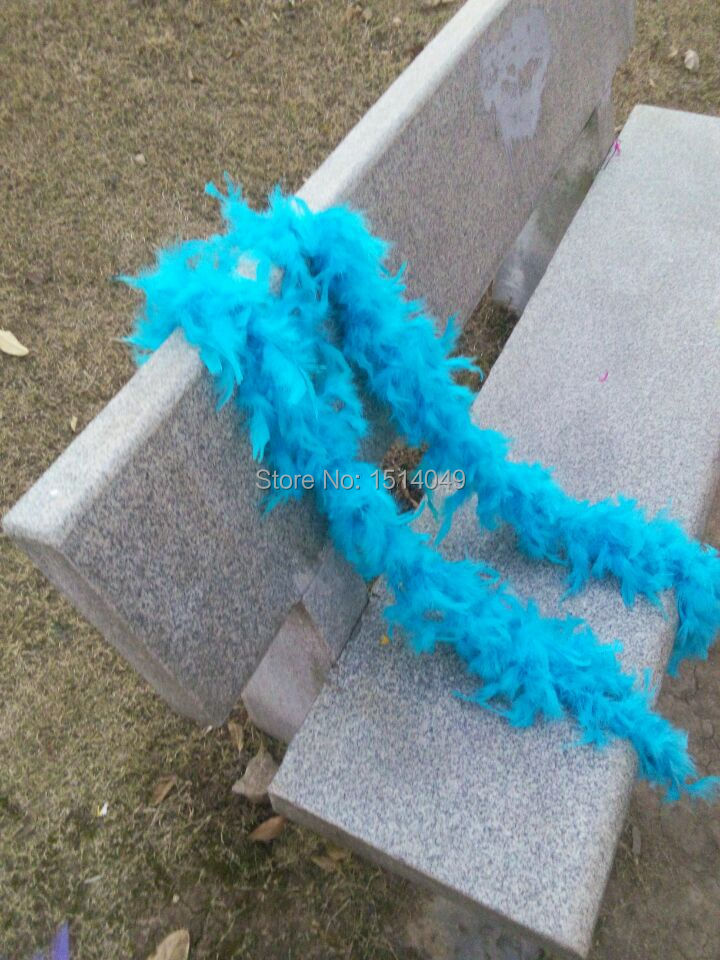 Free shipping wholesale 5pcs high quality Turkey feathers 2m long Feather boa Decorative hu blue