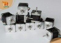 (Нет налога на ЕС) 10 шт. NEMA 17 Шаговые двигатели 42byghw609l20p1 x2, 4000g. см, 1.7a Робот 3D i3 makebot RepRap принтера (ce, rosh)