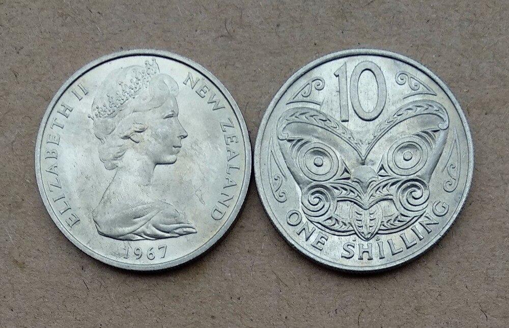 Nichtwährungs-münzen 23mm Maori Geschnitzte Maske Eine Shilling Münze Von Neuseeland 1966-1969 Preisnachlass