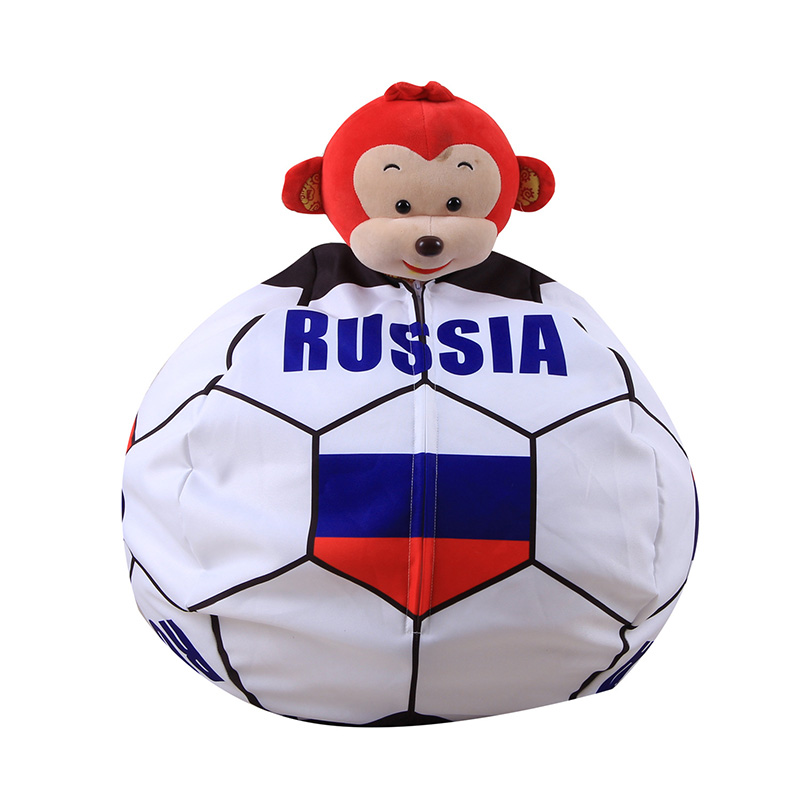 26 Inch Storage Beanbag World Football Clothes Plush Toys Orgnizer Sofa Bag Children Store Toy Neaten Kid Bedroom Russia France