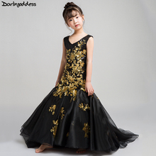 Elegant Black Mermaid Girls Dresses for Party and Weddings Gold Lace Evening Kids Flower Girl 2018