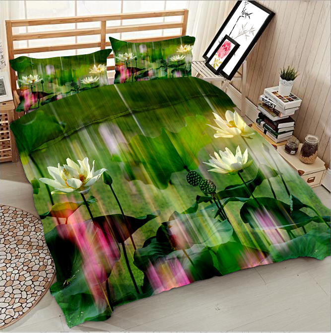 Water white lotus with green lotus leaf 3d effect photo bed linen can be customized photo pattern|Bedspread| |  - title=