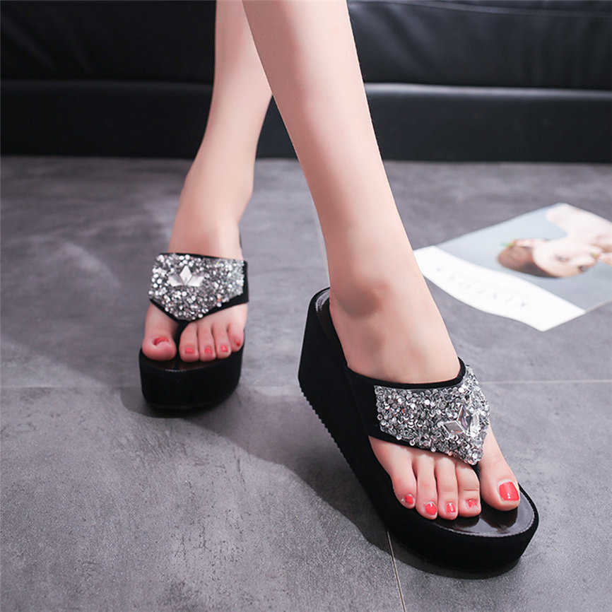HTB1eAQgafWG3KVjSZPcq6zkbXXa7 Women Sandals Summer Shoes Women's Slippers Rhinestone Wedges Flip Flops Fashion Clip Toe Beach Shoe For Women M23#30