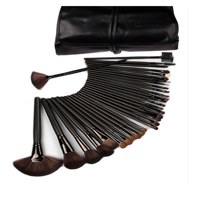 High Quality Professional 32 PCS Cosmetic Facial Make Up Brush Kit Makeup Brushes Tools Set Brush With Black Leather Case sponge puff 24 pcs cosmetic makeup brushes professional brush tools make up premium full function high quality facial cheek