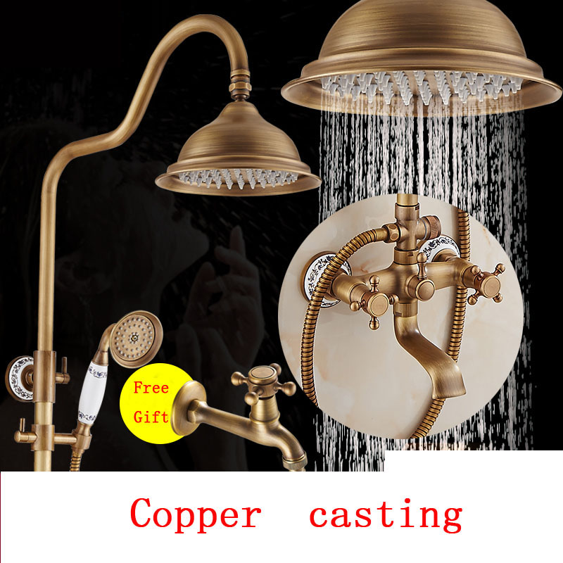 12 Style Bathroom antique brass shower faucet set,Wall mounted shower faucet mixer,Copper shower water tap rainfall shower head newly vintage antique brass shower faucet set rainfall shower head w ceramics hand showe retro wall mount