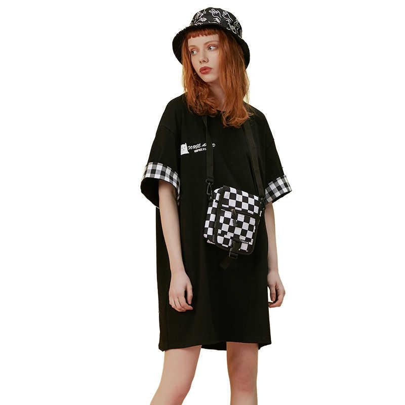 UNIFREE Лето 2019 Новое поступление черные топы платье Женская клетчатая стеганая с круглым вырезом свободная печать летнее платье UHC192I031