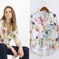 Estilo europeo 2016 Del Verano Nuevas Mujeres de la Llegada de La Manera Ocasional de la Impresión Floral Con Cuello En V Camisa, mujer de Manga Larga Tops Blusa de La Gasa