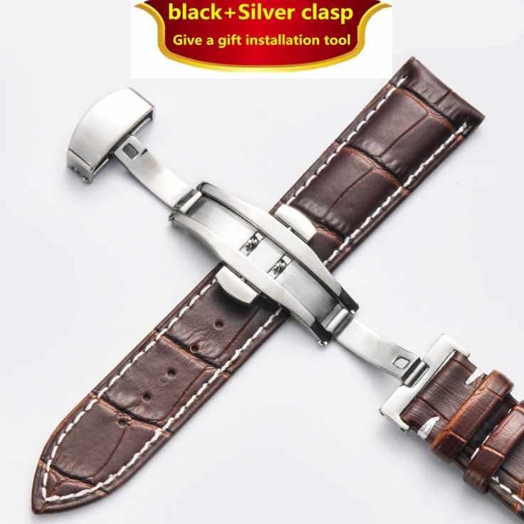Watchbands עור אמיתי 12-24mm אוניברסלי שעון פרפר אבזם להקת פלדת אבזם רצועת יד חגורת צמיד + כלי