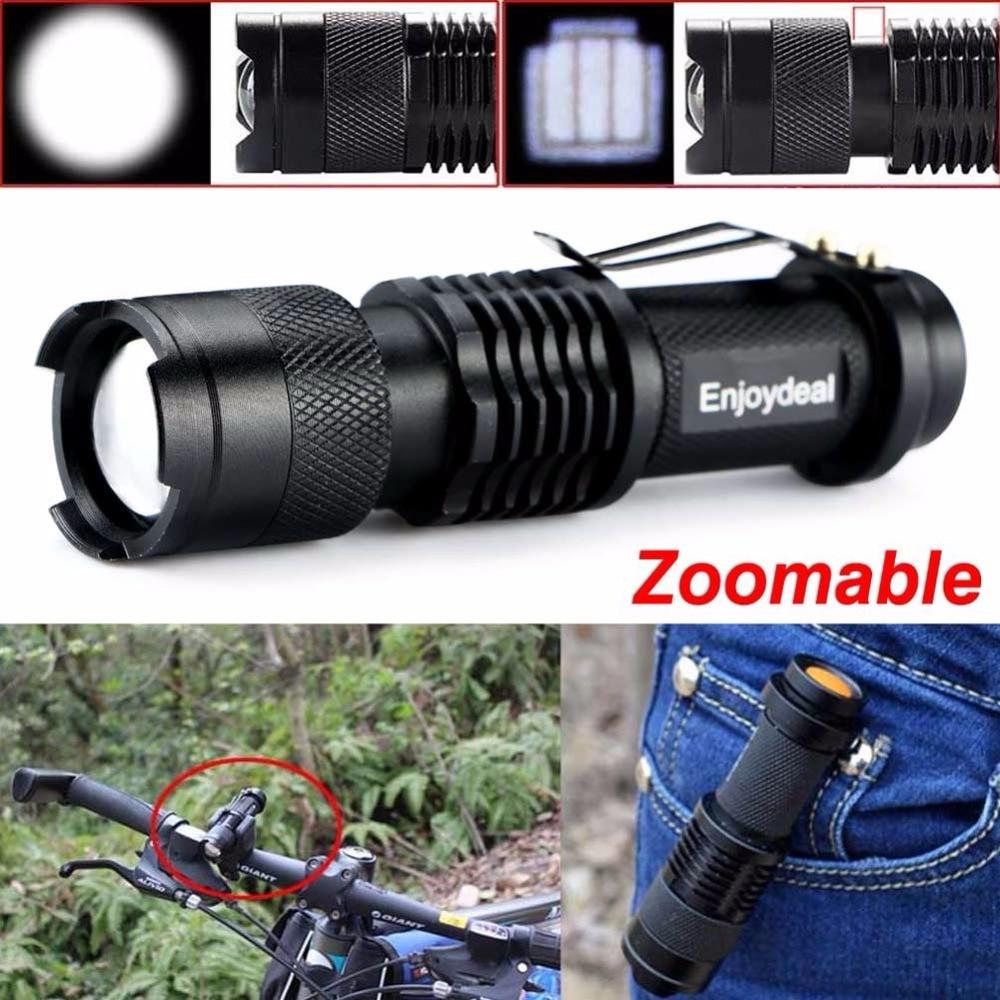 2016 Новый Мини 2000 Люмен Яркий CREE Q5 LED Регулируемый Фокус Фонарик Факел Лампы Light Black Для AA/14500 Батареи