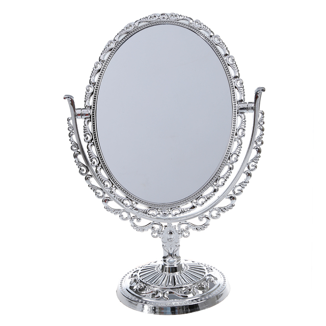 Plastic silver vanity make up cosmetic table bathroom for Silver stand up mirror