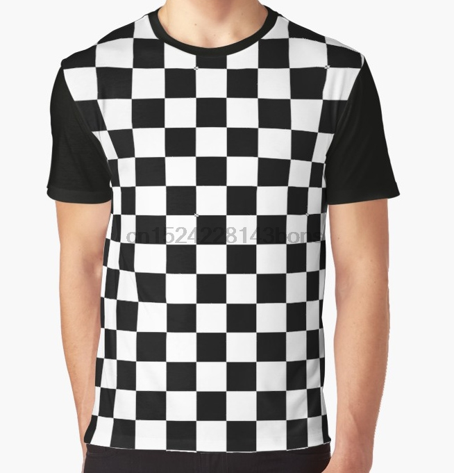 Us 13 99 All Over Print T Shirt Men Funy Tshirt Black And White Check Checkered Flag Motorsports Race Day Chess Short Sleeve In T Shirts From