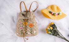 Цветы ручной работы выдалбливают тканые сумка Мори японский корейский стиль ротанга трава рюкзак женская Пляжная сумка для Приморский поездки