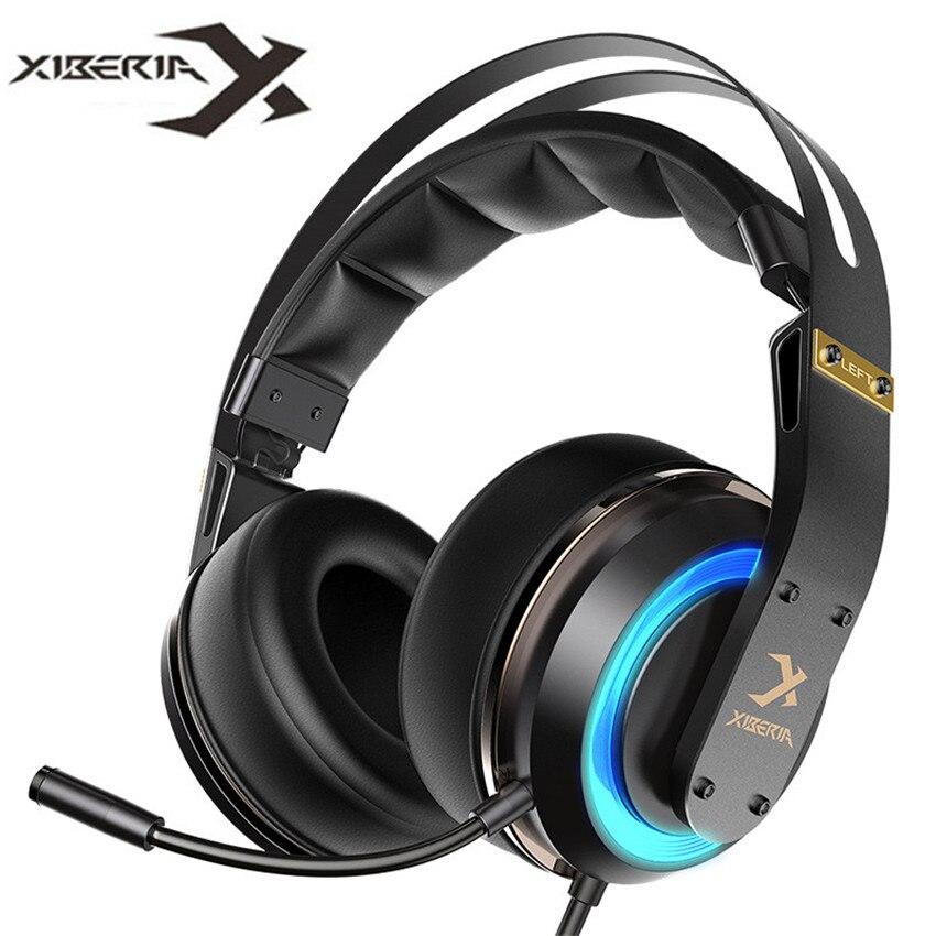 XIBERIA T19 PC casque Gamer USB 3D Surround son casque de jeu avec Microphone actif anti-bruit LED pour ordinateur