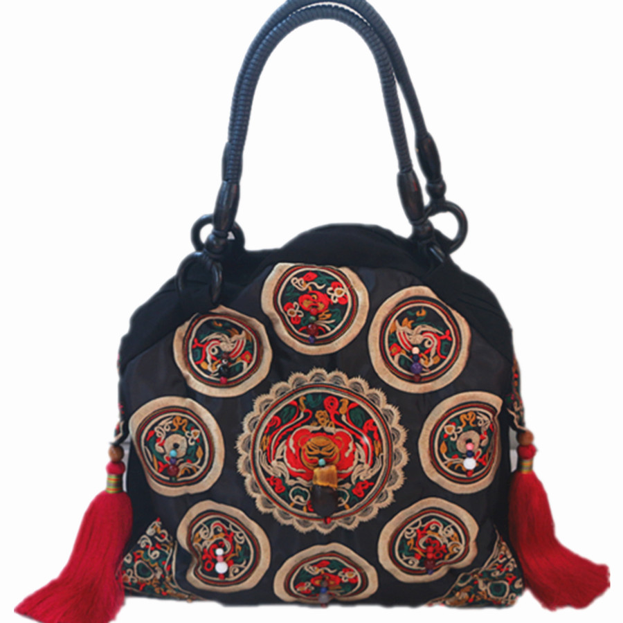 Chinese ethnic minority style floral embroidered vintage handbag with tassels beading soft handles women casual shoulder bag vintage embroidery women flats chinese floral canvas embroidered shoes national old beijing cloth single dance soft flats