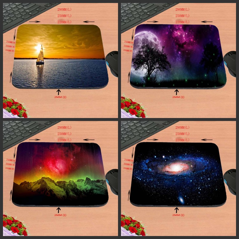 Customized Best Sales  Mouse Pad Space Sea Scenery Computer Notebook Rectangle Rubber Anti-slip Mouse Mat 18*22cm