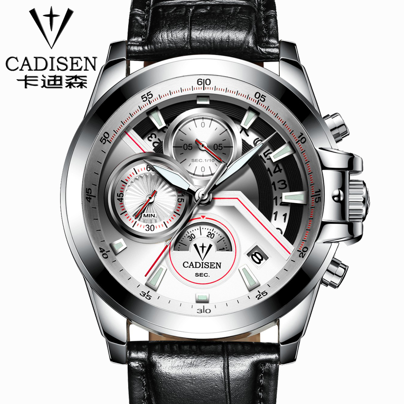 Cadisen Multifunction Auto Date Military Sport Watches Men Waterproof leather Quartz-Watch Men army Clock relogio mascul weide new men quartz casual watch army military sports watch waterproof back light men watches alarm clock multiple time zone